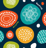 Funny decorative pattern in Scandinavian style. Abstract background with colorful simple shapes. Royalty Free Stock Image