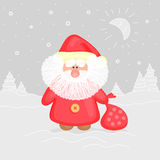 Funny Ded Moroz with gift bag Royalty Free Stock Photos