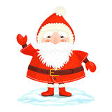 Funny Ded Moroz. In red cap, coat, mittens and boots is waving his hand friendly Royalty Free Stock Photos