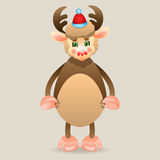 Funny deer on a beige background. Wearing Santa's cap Royalty Free Illustration