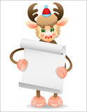 Funny deer with a border for text. Funny deer on wearing Santa's cap with paper Vector Illustration