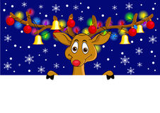 Funny deer cartoon with Christmas lamp Royalty Free Stock Images