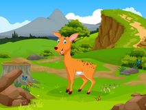 Funny deer cartoon in the jungle with landscape background Royalty Free Stock Photo