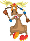 Funny deer in a helmet riding on roller skates Royalty Free Stock Photos