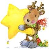 Funny deer Santa Claus. watercolor illustration Stock Photos