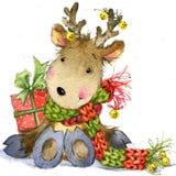 Funny deer Santa Claus. watercolor illustration Stock Image