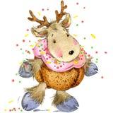 Funny deer Santa Claus. watercolor illustration Stock Photography