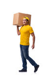 The funny delivery boy with box isolated on white Stock Image