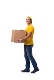 The funny delivery boy with box isolated on white Royalty Free Stock Images