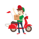 Funny delivery boy delivering box by scooter. Flat Vector illustration. Royalty Free Stock Photo