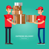 Funny Delivery character. Man. Vector Delivery. Delivery detailed illustration. Delivery fast to the door and by delivery courier flat set. Delivery vector Royalty Free Stock Photos