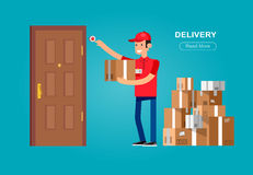 Funny Delivery character. Man. Vector Delivery. Delivery detailed illustration. Delivery fast to the door and by delivery courier flat set. Delivery vector Royalty Free Stock Images