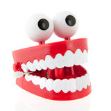 Funny denture. With eyes isolated over white background stock photo