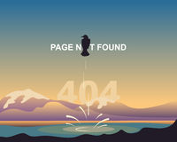 Funny design page 404. Page not found. Cartoon crow on a background of an abstract landscape of mountains and lakes.  Royalty Free Stock Images