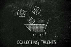 Funny design about talent scouting, shopping for the best skills. Funny metaphor of CV selection for talent scouting, collecting the best talents Stock Photography