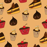 Funny desserts pattern Stock Photos