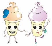Funny desserts. Two funny dessert vector boy and girl Stock Photography