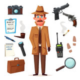 Funny detective character. Cartoon vector illustration Stock Image
