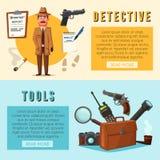 Funny detective character. Cartoon vector illustration Royalty Free Stock Photo