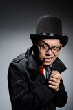 Funny detective. With pipe and hat royalty free stock photo