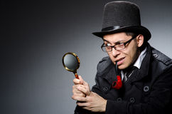 Funny detective. With pipe and hat stock images