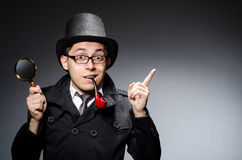 Funny detective. With pipe and hat Stock Photos