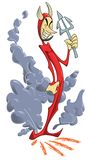 Funny Devil. Funny slim devil appearing with smoke and holding a fork Royalty Free Stock Images