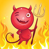 Funny devil cartoon character with trident Royalty Free Stock Photos