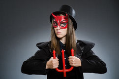 The funny devil in halloween concept Royalty Free Stock Photography