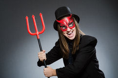 The funny devil in halloween concept Stock Photography