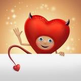 Funny devil Valentine heart cartoon holding banner Stock Image