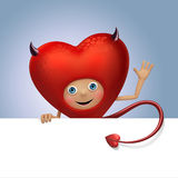Funny devil Valentine heart cartoon holding banner Royalty Free Stock Image