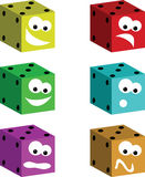 Funny dice. Six funny dice with different expression on their face. They could be used in advertisement for casino or for gambling Royalty Free Stock Image