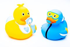 Baby rubber ducks toy for bath. Funny different baby rubber duck for bath studio quality white background Royalty Free Stock Images