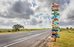 Different world directions signpost. Funny different world directions signpost with distance to many different countries stock photo