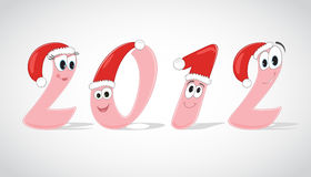 Funny digits of the year 2012. In christmas caps. Vector Illustration Stock Image