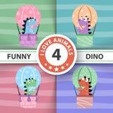 Funny dino air balloon illustration. royalty free illustration
