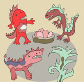 Funny dinos illustration Stock Photos