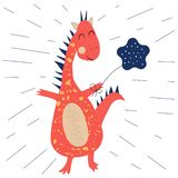 Funny dinosaur with balloon royalty free illustration