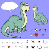 Funny Dinosaur brontosaurus expressions cartoon set Stock Photos