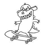 Funny dinosaur in a cap skates on a skateboard. Vector illustration. Royalty Free Stock Photography