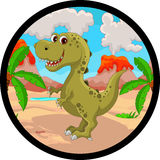 Funny dinosaur cartoon Stock Image