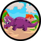 Funny dinosaur cartoon Stock Photography