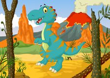 Funny dinosaur cartoon with forest landscape background Stock Images