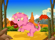 Funny dinosaur cartoon in the jungle landscape background Stock Images