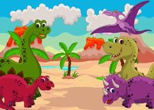 Funny dinosaur cartoon set vector illustration