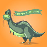 Funny dinosaur in cartoon style holding ribbon with birthday greetings. Vector illustration. Royalty Free Stock Photos