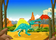 Funny Dinosaur cartoon with volcano landscape background Royalty Free Stock Photography
