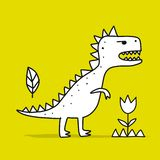 Funny dinosaur, childish style. Sketch for your design. Vector illustration royalty free illustration