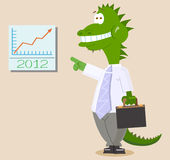 Funny Dinosaur or Dragon office worker Royalty Free Stock Photos